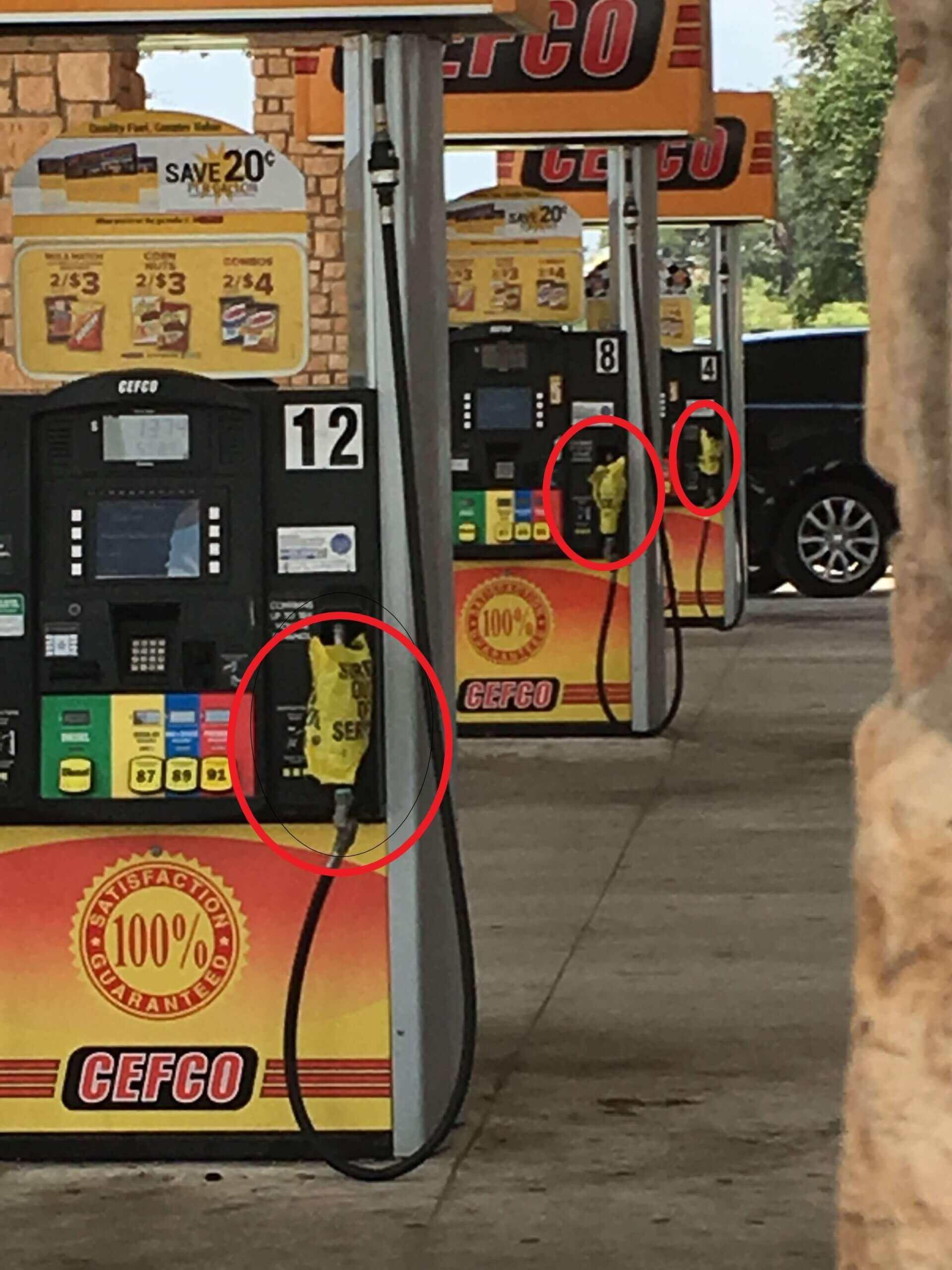 Photo of fuel pump empty of no-lead gasoline